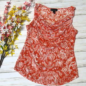 INC Red-Orange Paisley Floral Sleeveless Tank Top